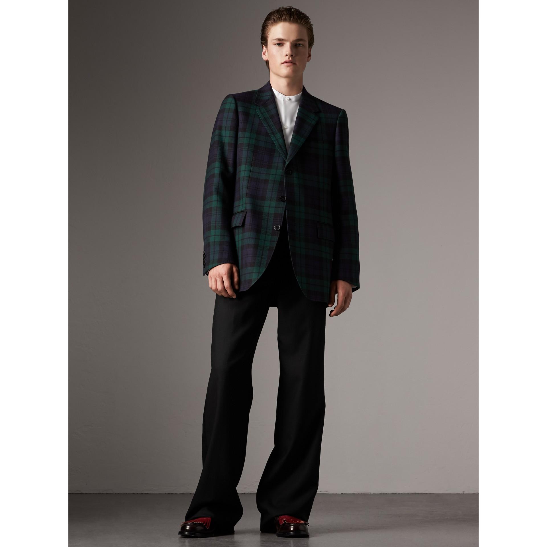 Tartan Wool Tailored Jacket in Bright Navy - Men | Burberry - gallery image 1