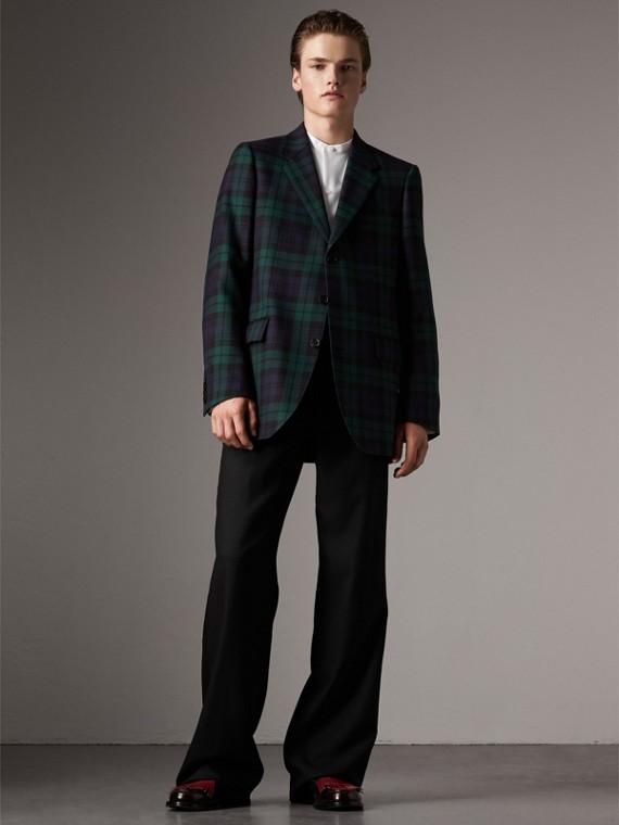 Классический пиджак из шерсти в шотландскую клетку (Яркий Темно-синий)