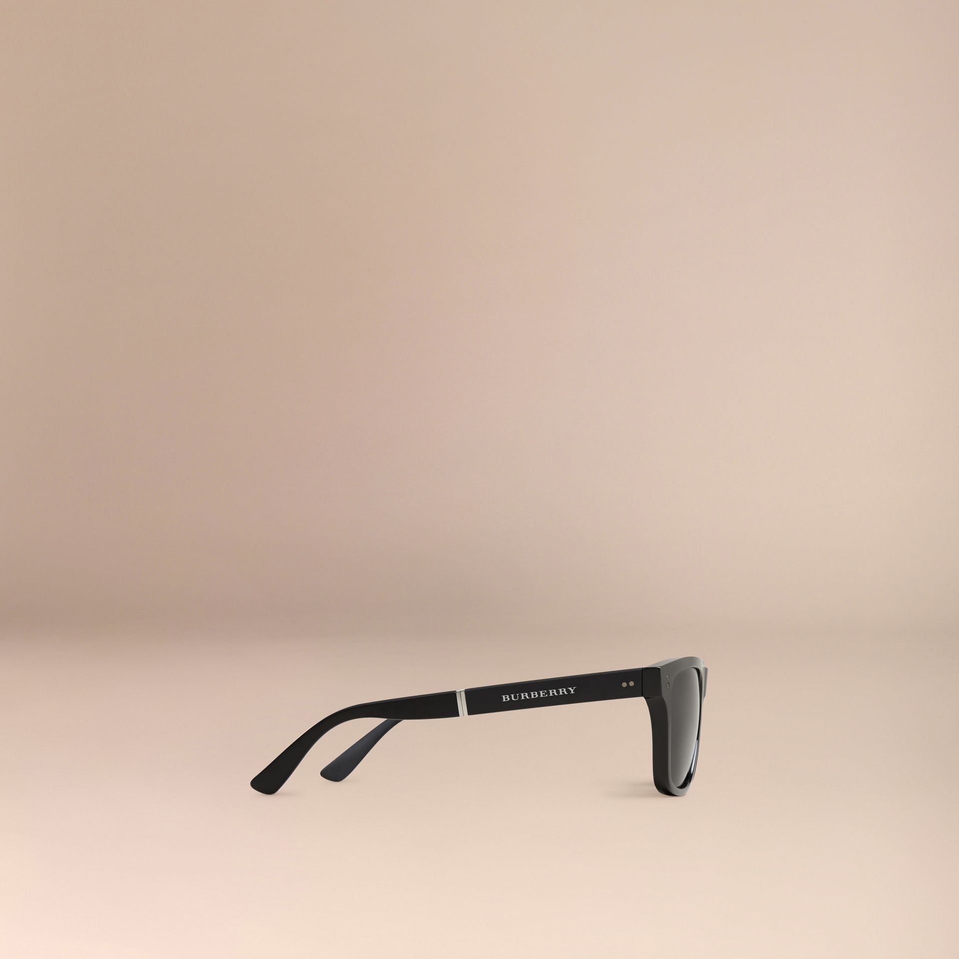 Folding Rectangular Frame Sunglasses in Black - Men | Burberry United Kingdom - gallery image 3