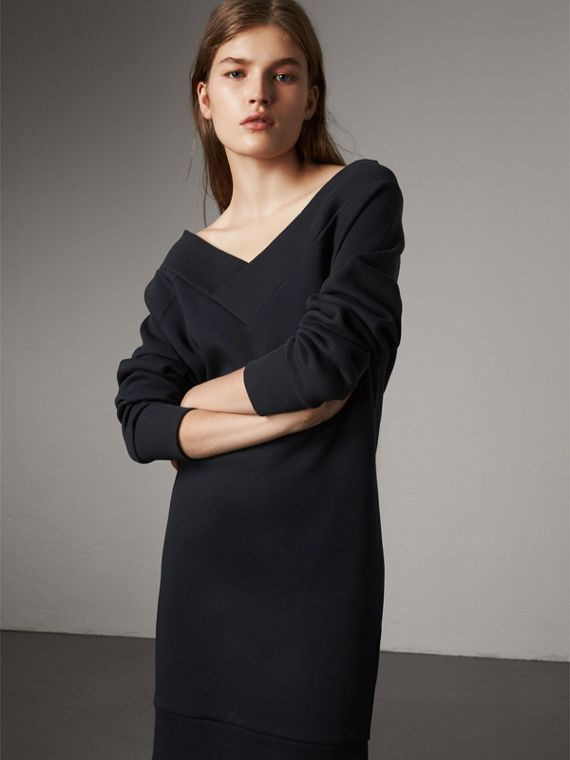 Cotton Blend V-neck Sweater Dress in Navy - Women | Burberry Hong Kong