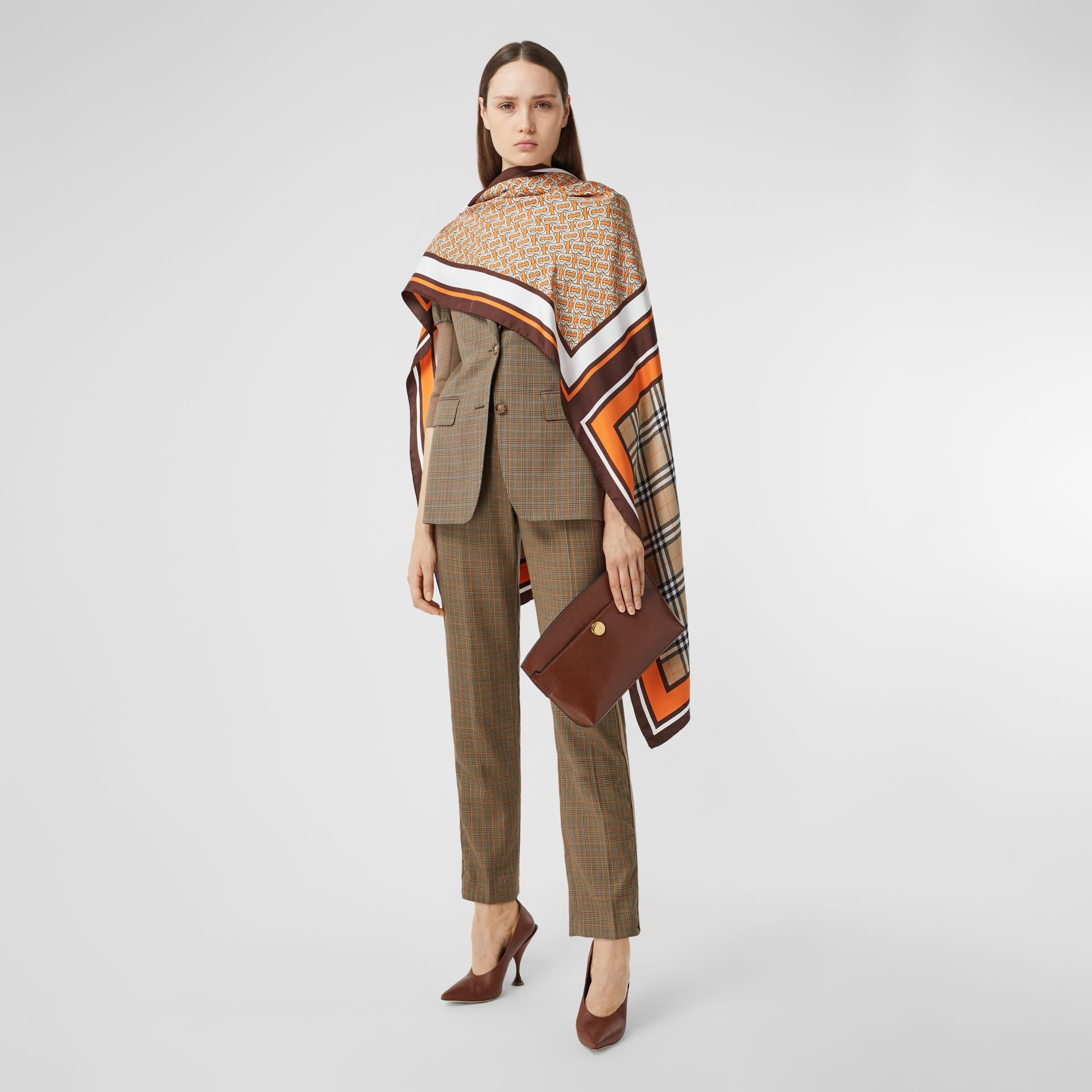 Monogram, Icon Stripe and Check Print Silk Scarf in Bright Orange | Burberry United Kingdom - gallery image 6