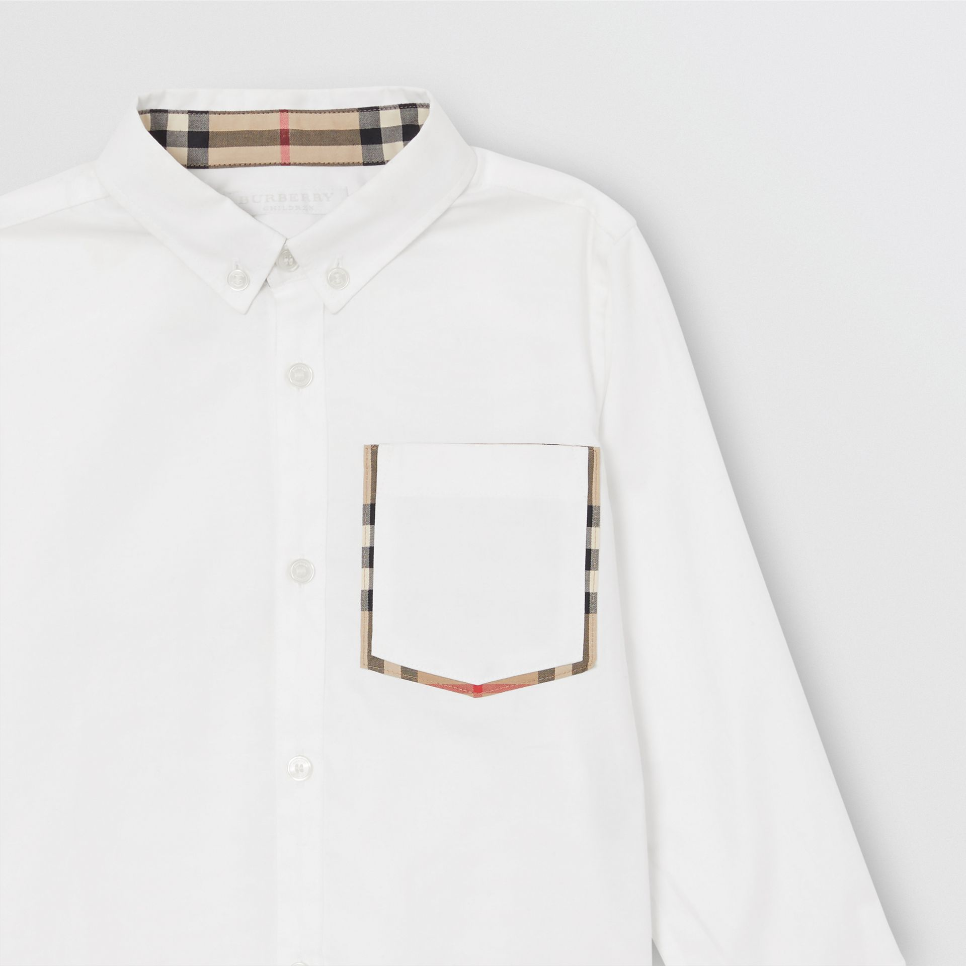 Check Detail Cotton Oxford Shirt in White - Boy | Burberry - gallery image 4