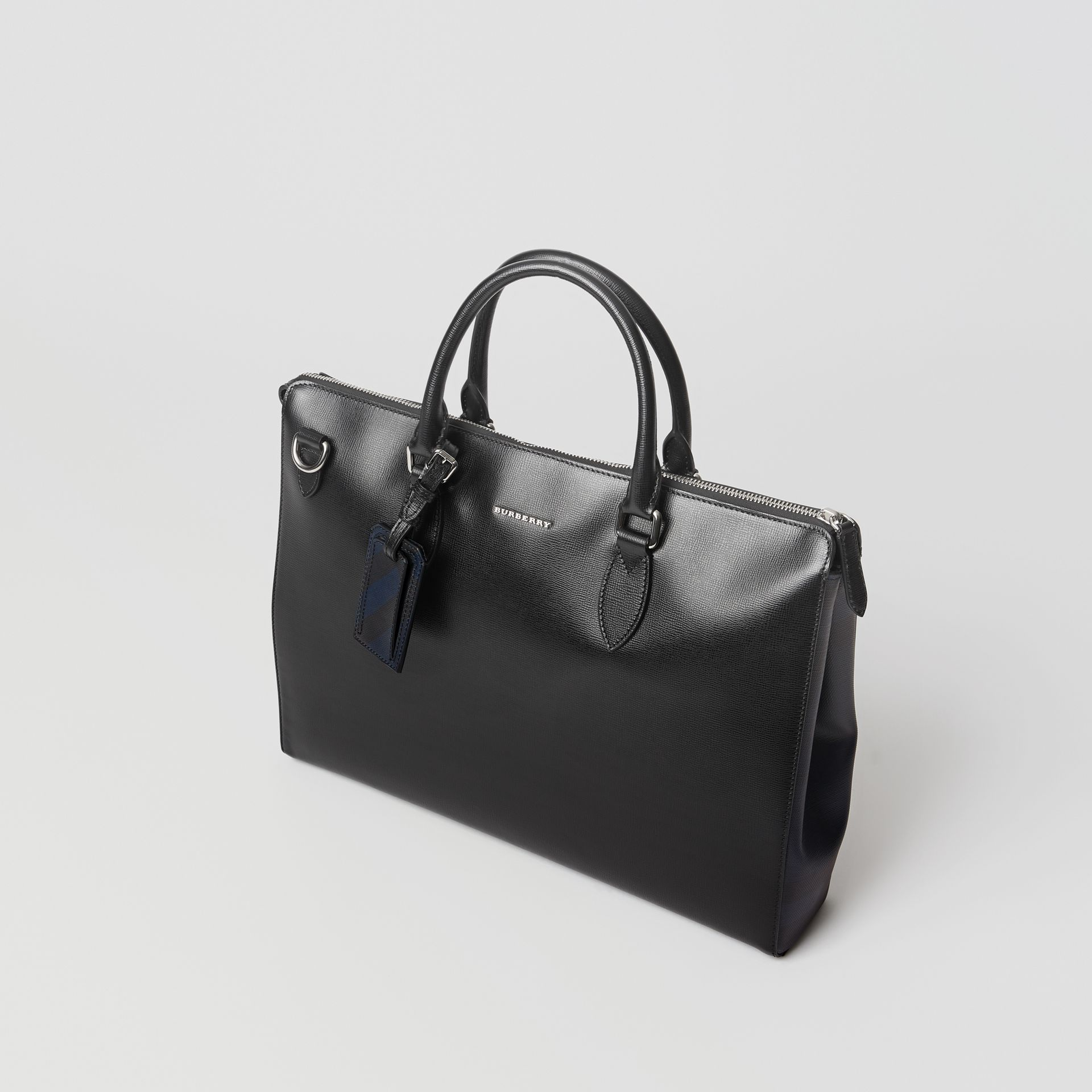 Large London Leather Briefcase in Black - Men | Burberry - gallery image 3