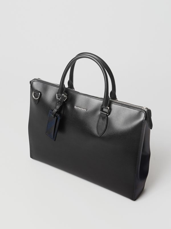 Large London Leather Briefcase in Black - Men | Burberry - cell image 3