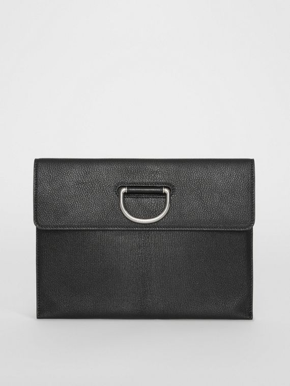 D-ring Leather Pouch in Black