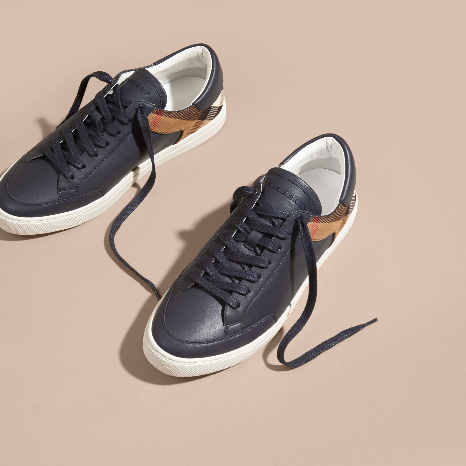 House check/true navy Leather and House Check Trainers Check/true Navy - gallery image 3