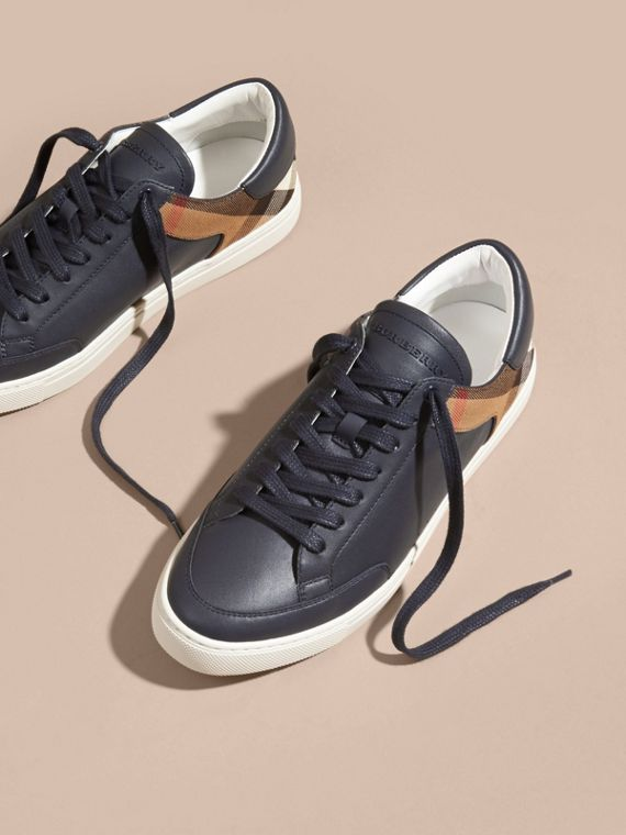 Leather and House Check Trainers in Check/true Navy - cell image 2