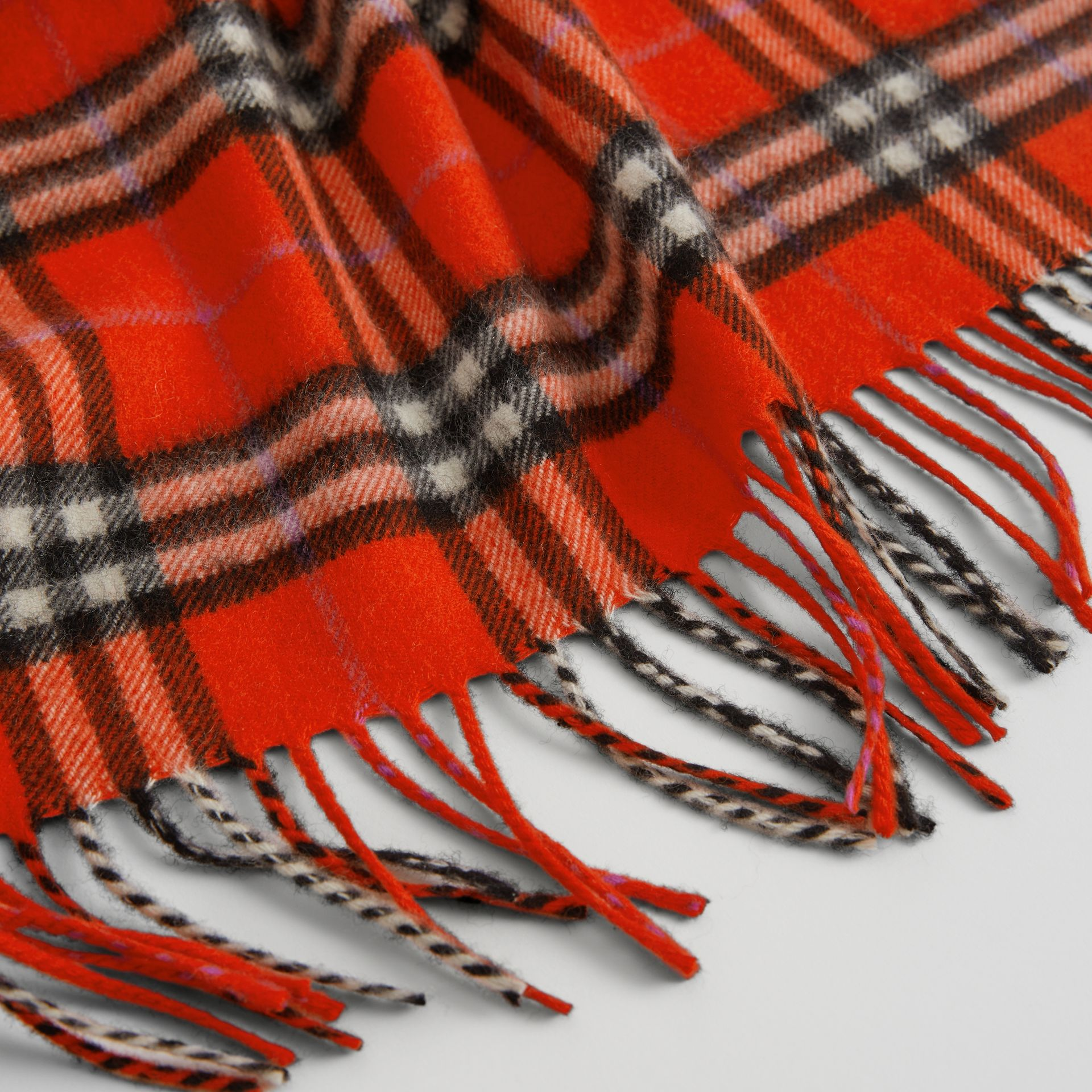 The Mini Burberry Bandana in Check Cashmere in Bright Red | Burberry Canada - gallery image 1