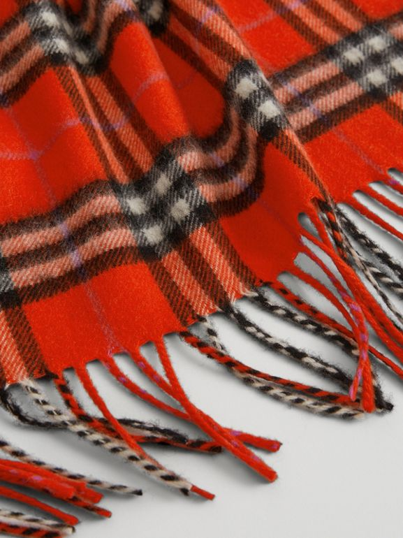 The Mini Burberry Bandana in Check Cashmere in Bright Red | Burberry Canada - cell image 1