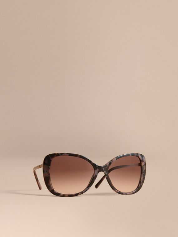 Check Detail Butterfly Frame Sunglasses Tortoiseshell