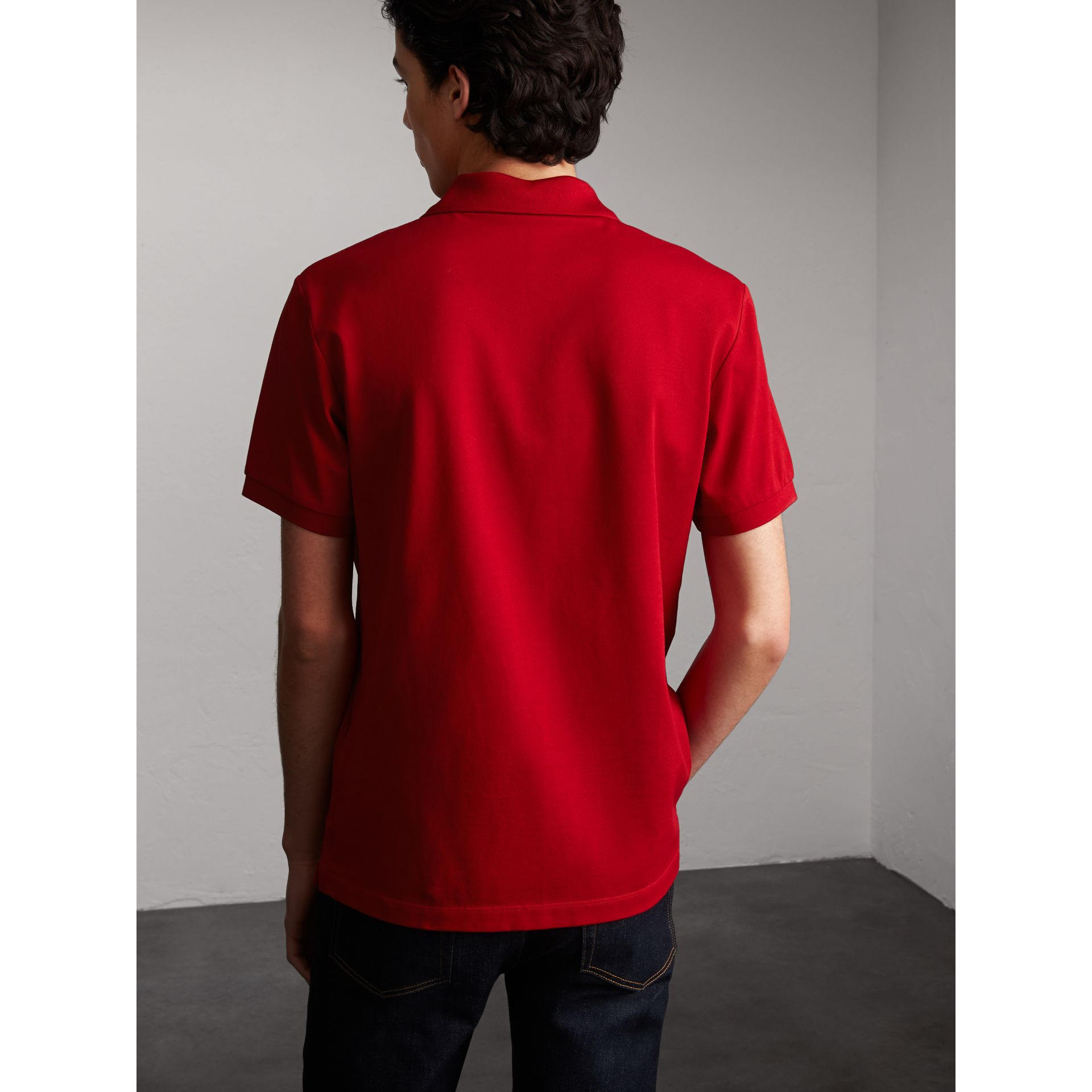 Striped Placket Cotton Piqué Polo Shirt in Military Red - gallery image 3