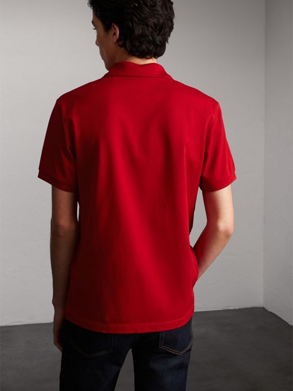 Striped Placket Cotton Piqué Polo Shirt in Military Red - cell image 2
