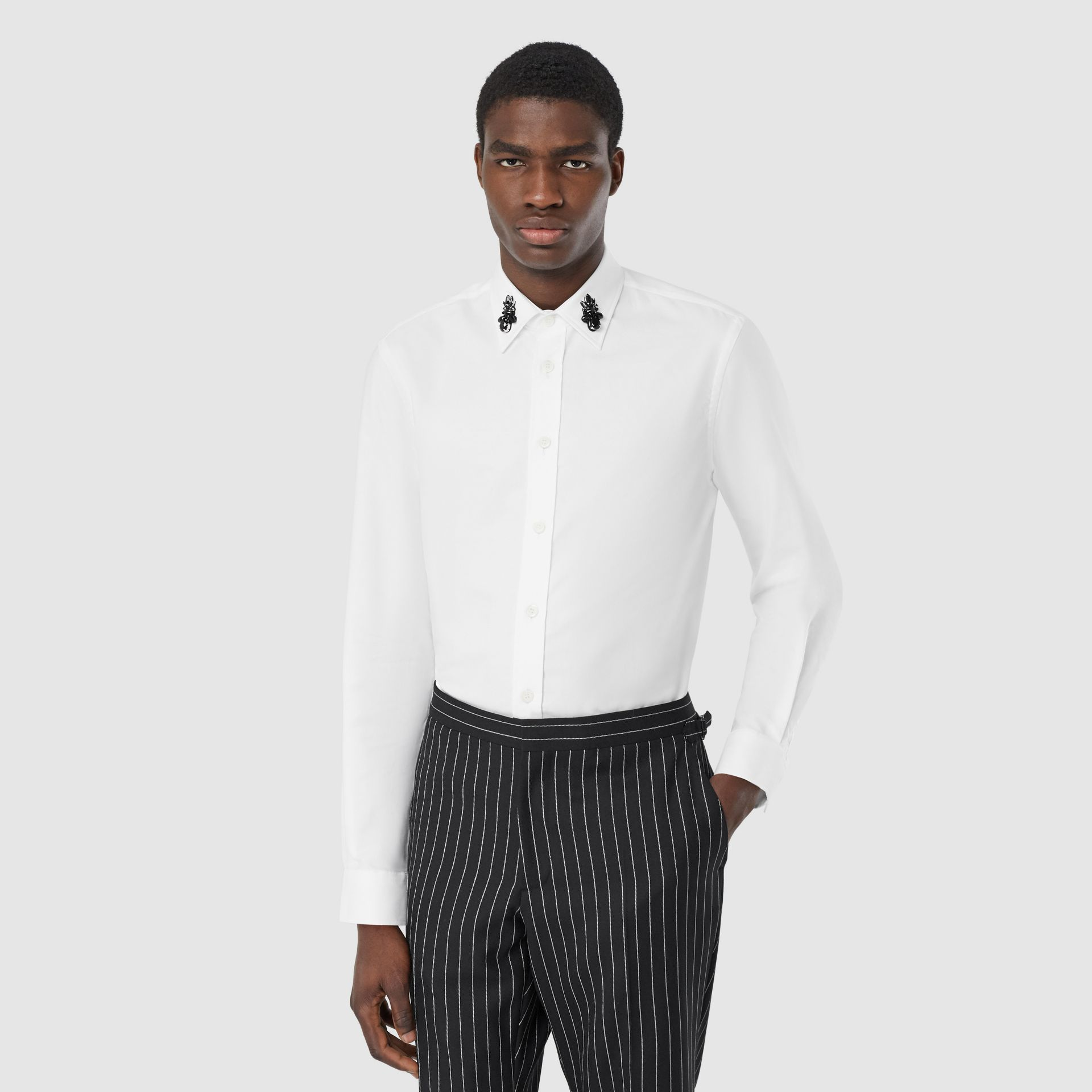 Classic Fit Crystal Detail Cotton Oxford Dress Shirt in White - Men | Burberry - gallery image 0