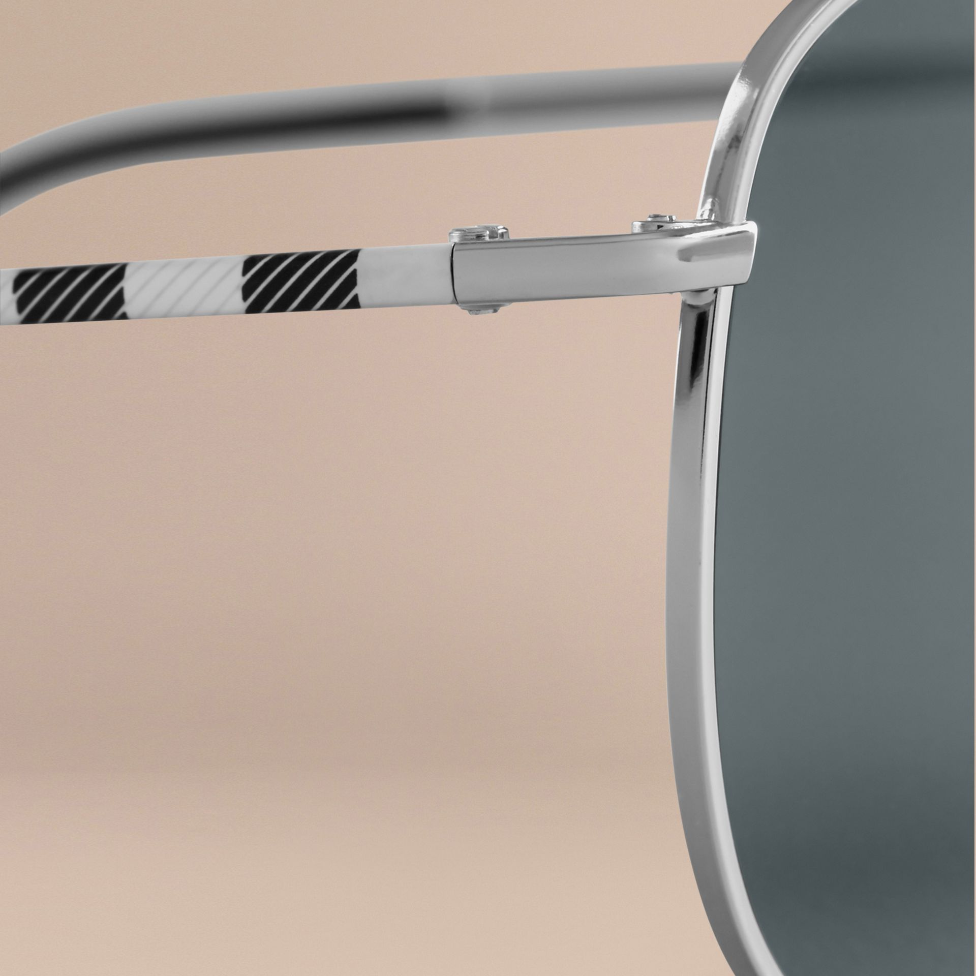 Silver Check Arm Aviator Sunglasses Silver - gallery image 2
