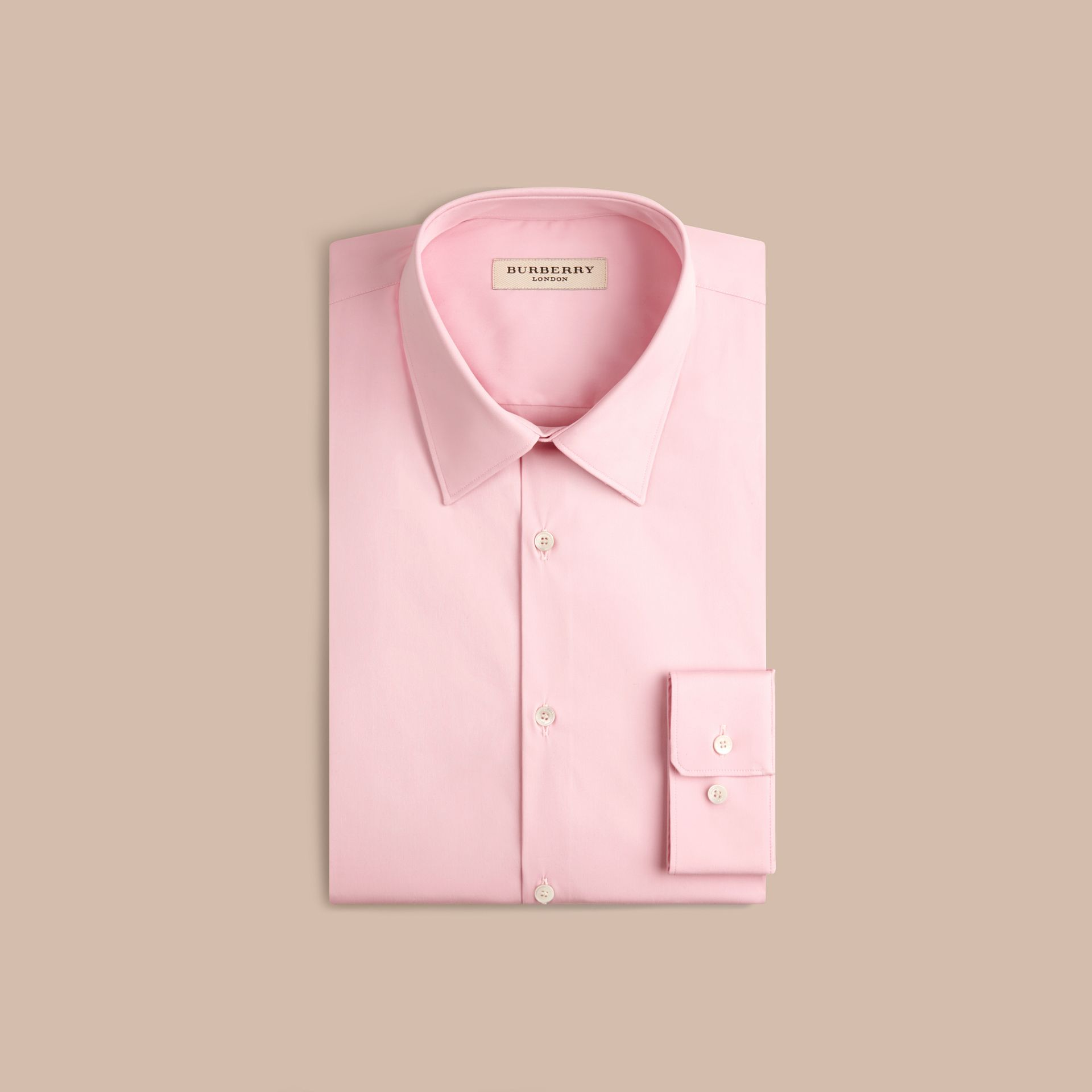 Slim Fit Stretch Cotton Shirt in City Pink - gallery image 3