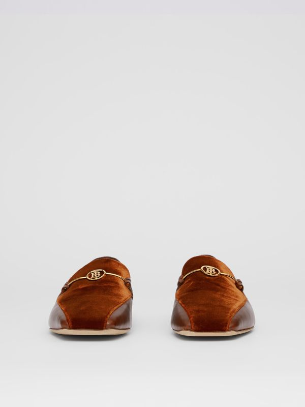 Monogram Motif Velvet and Leather Loafers in Dark Chocolate/tan - Women | Burberry Singapore - cell image 3