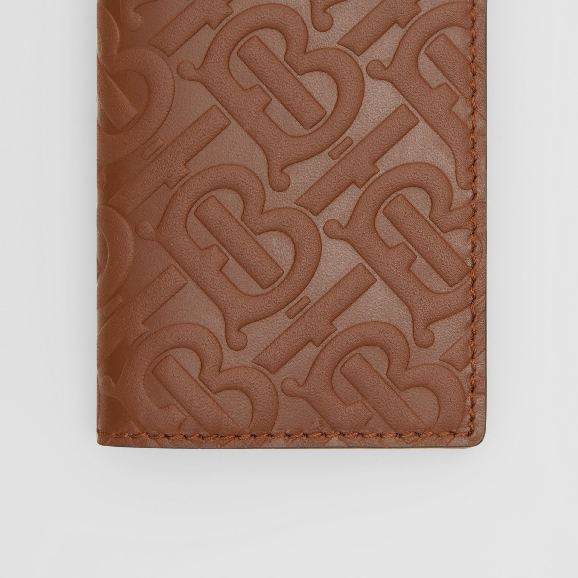 Monogram Leather Bifold Card Case in Dark Tan - Men | Burberry - gallery image 1
