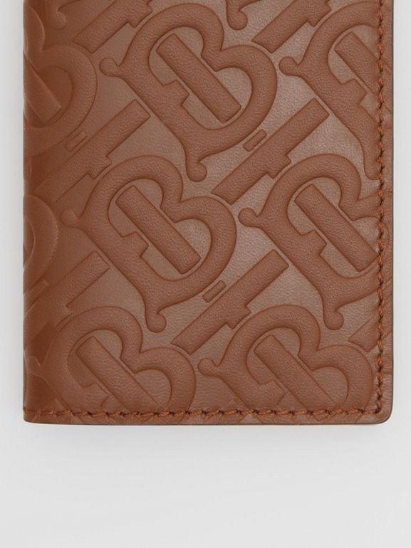 Monogram Leather Bifold Card Case in Dark Tan - Men | Burberry United Kingdom - cell image 1