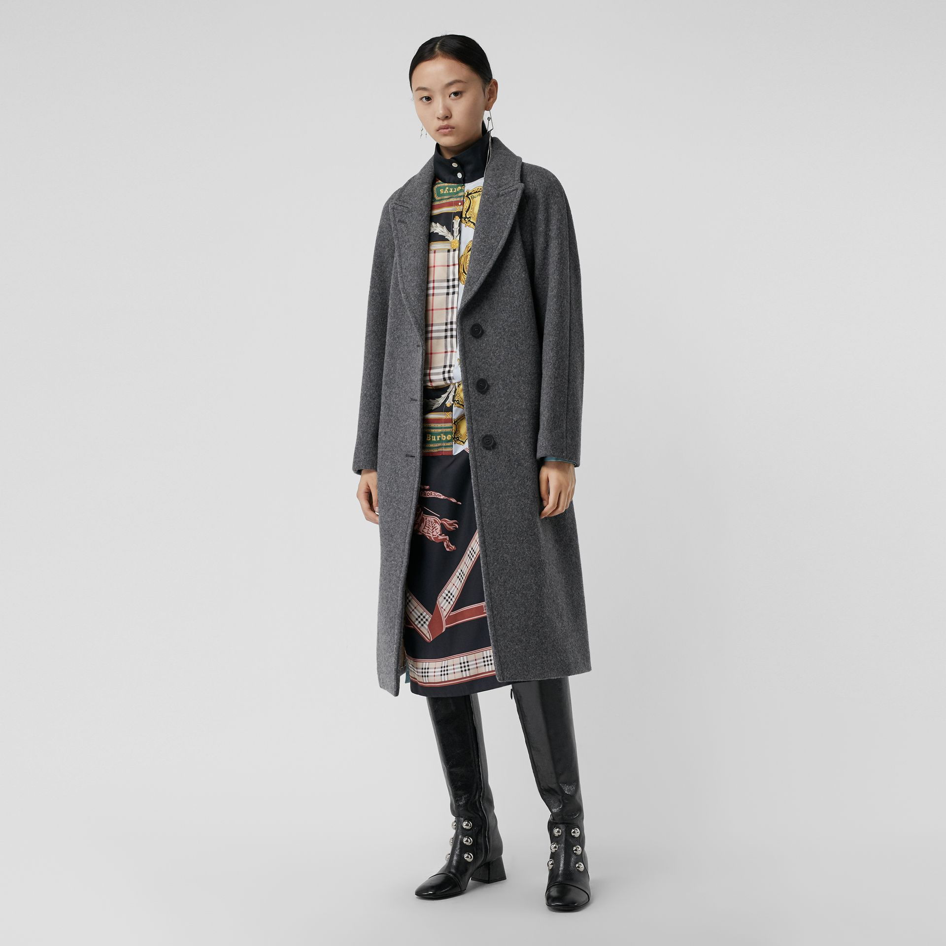 Wool Blend Tailored Coat in Mid Grey Melange - Women | Burberry - gallery image 0