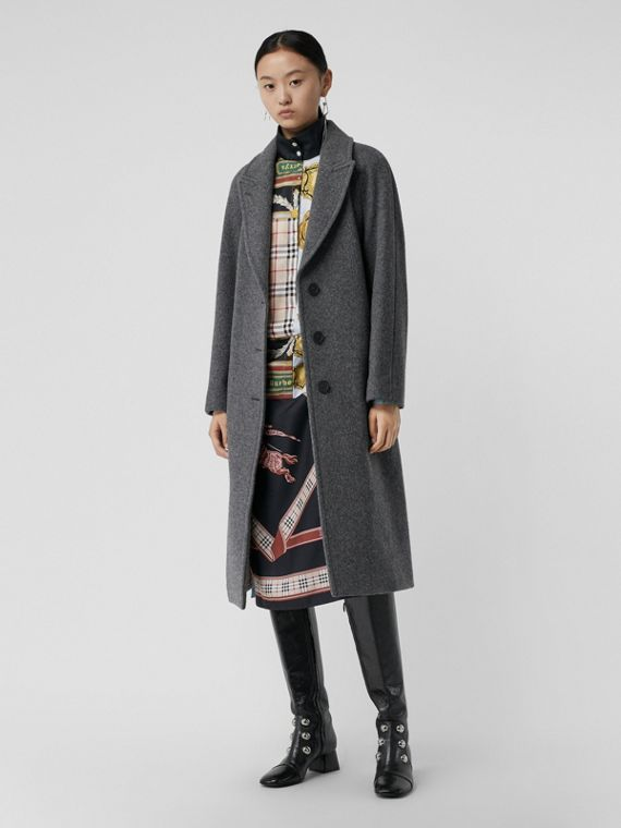 Wool Blend Tailored Coat in Mid Grey Melange