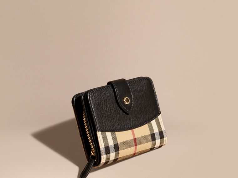 Horseferry Check and Leather Wallet Black - cell image 1