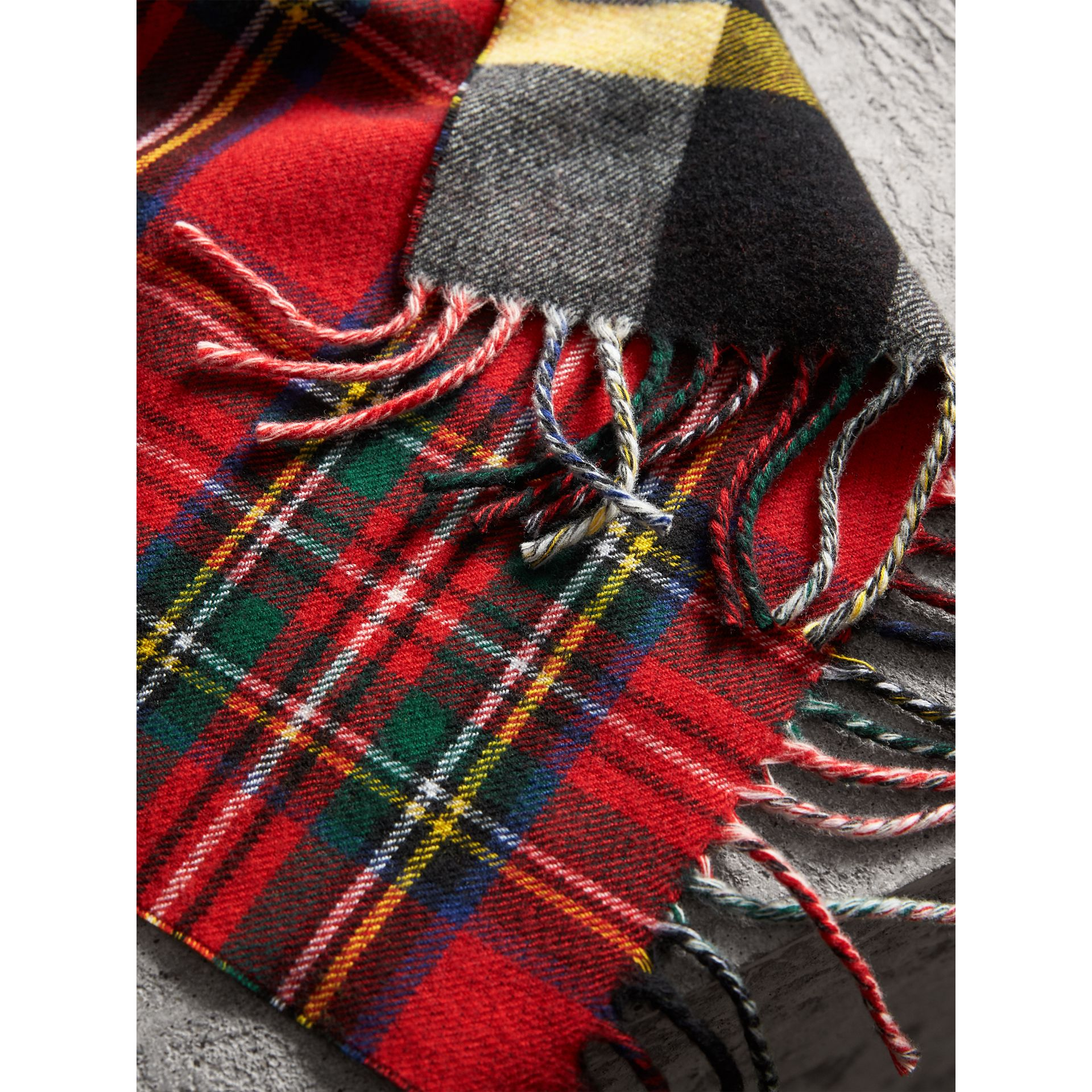 Check Merino Wool Scarf in Bright Red | Burberry United Kingdom - gallery image 2