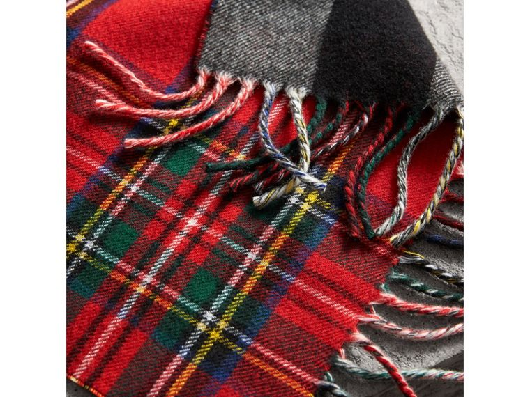 Check Merino Wool Scarf in Bright Red | Burberry United Kingdom - cell image 1