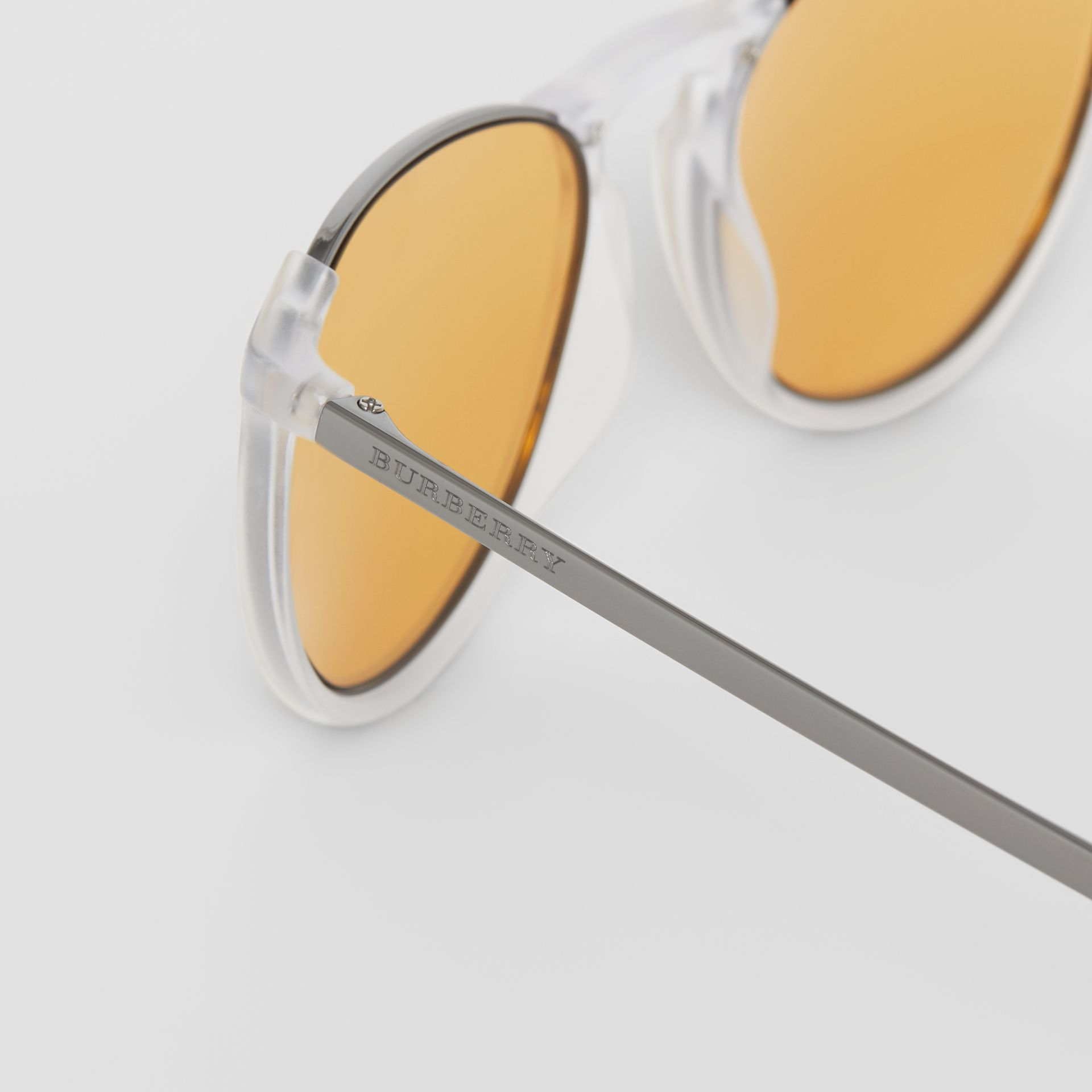 Keyhole Pilot Round Frame Sunglasses in Crystal - Men | Burberry United Kingdom - gallery image 1