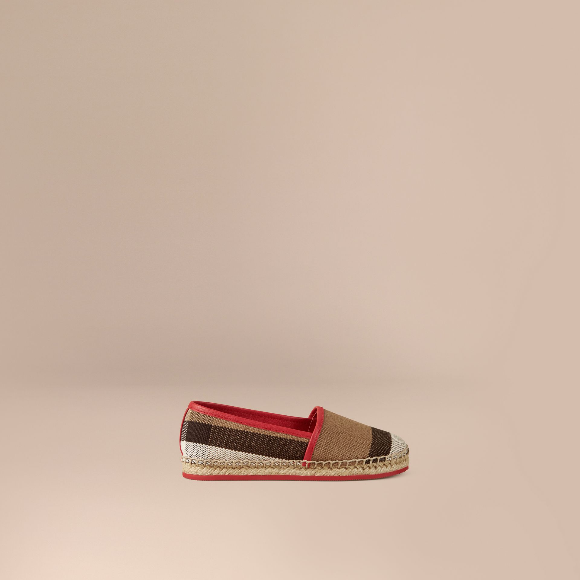 Military red Canvas Check Espadrilles Military Red - gallery image 1