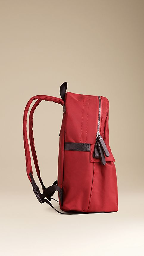 Parade red Leather Detail Nylon Backpack - Image 3
