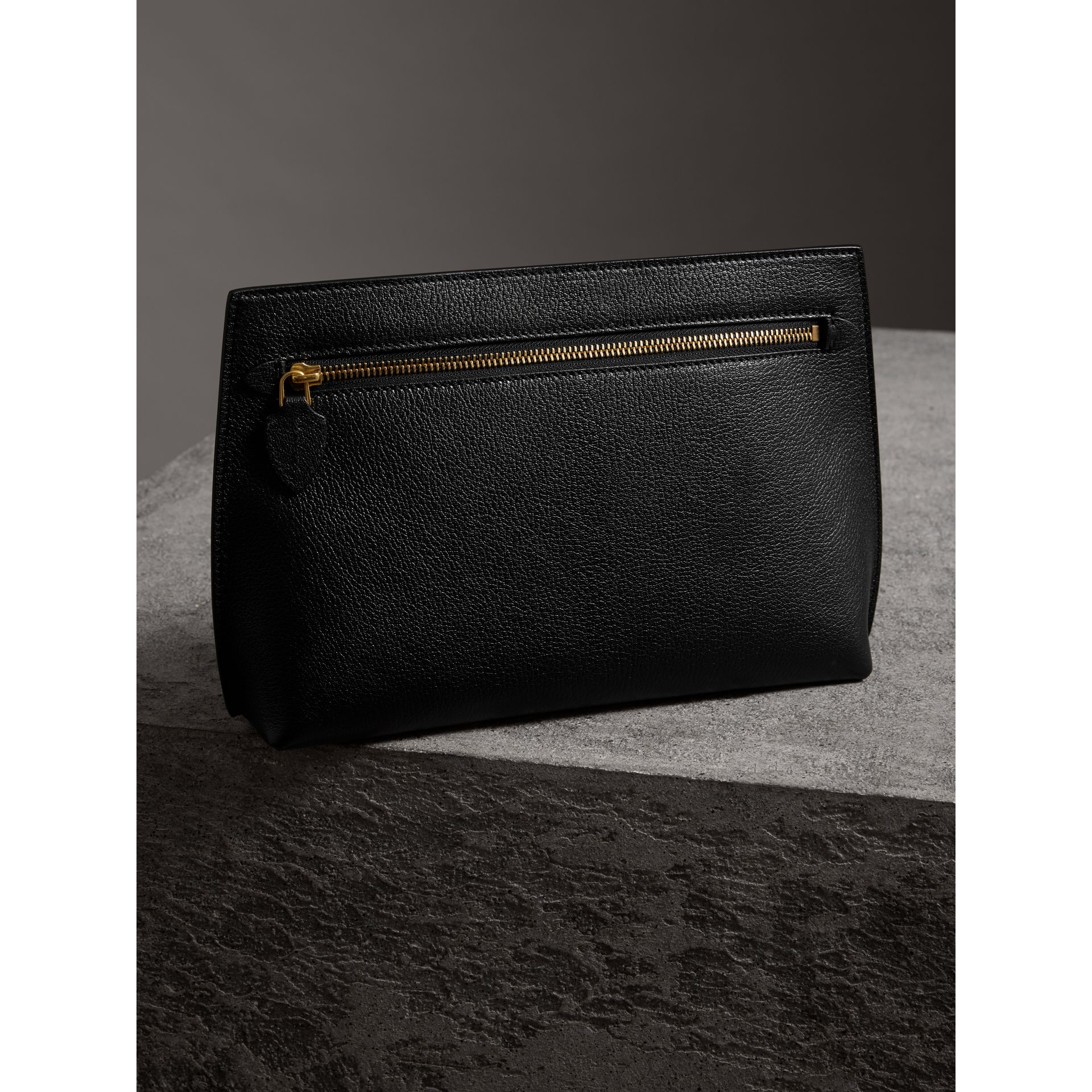 Grainy Leather Wristlet Clutch in Black - Women | Burberry - gallery image 4