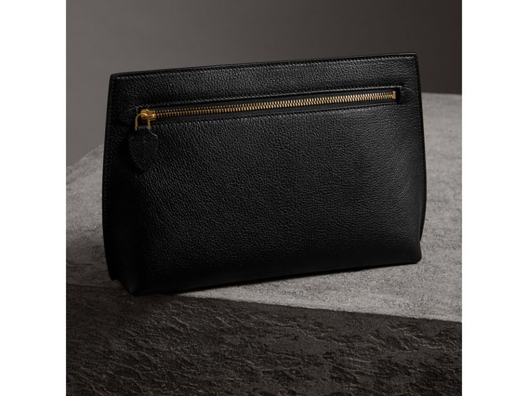 Grainy Leather Wristlet Clutch in Black - Women | Burberry Australia - cell image 4