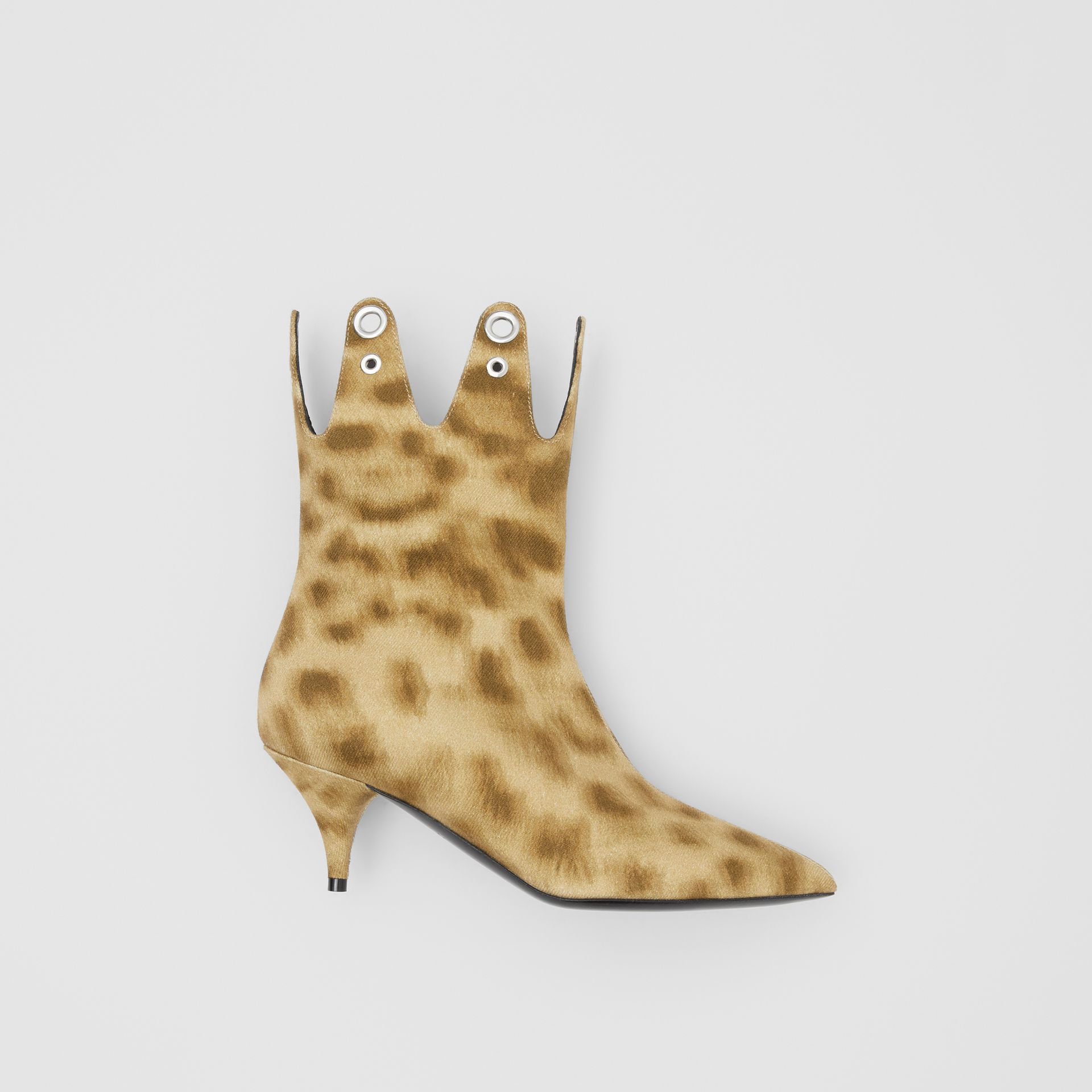 Eyelet Detail Leopard Print Ankle Boots - Women | Burberry - gallery image 0