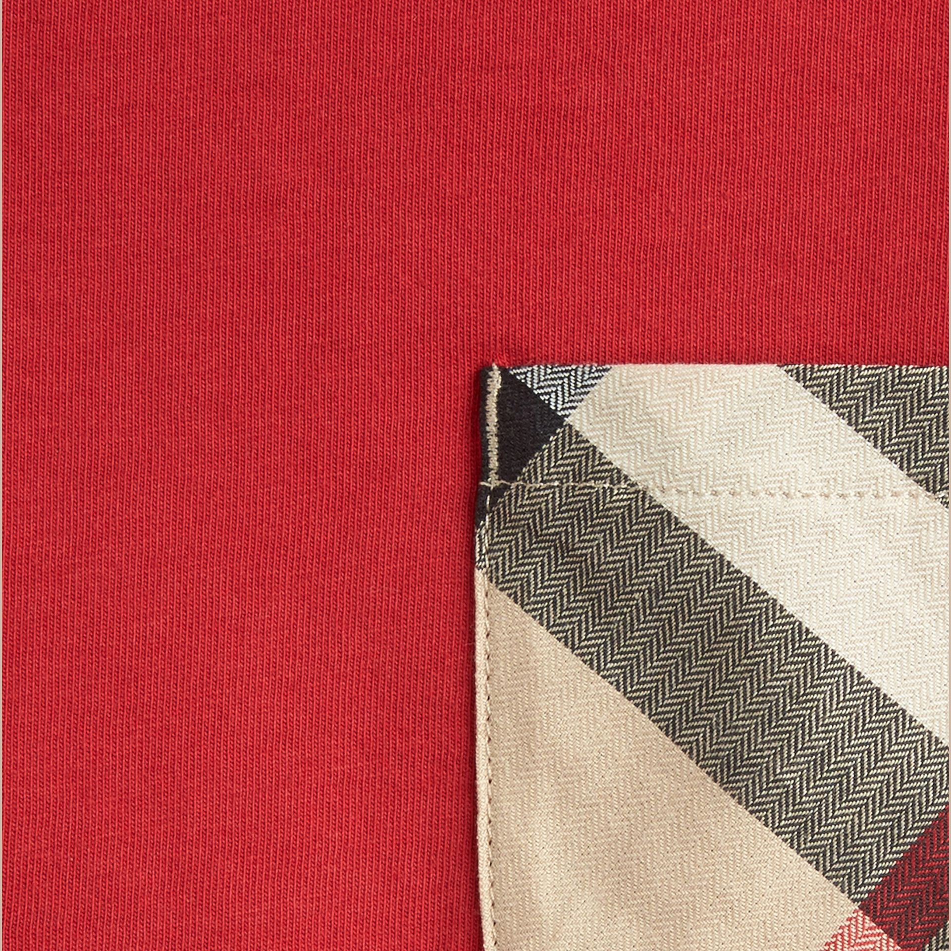 Check Pocket Cotton T-shirt in Military Red - gallery image 2