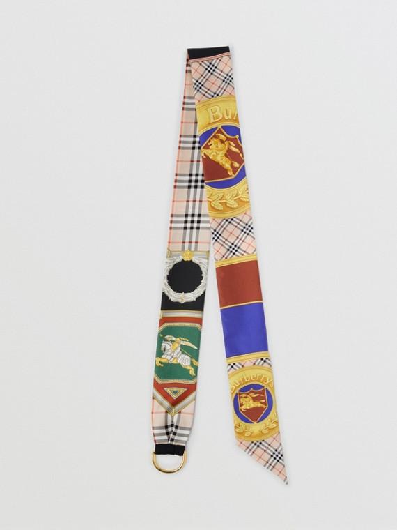 Skinny scarf de seda com estampa do acervo e detalhe de argola em D (Multicolorido)