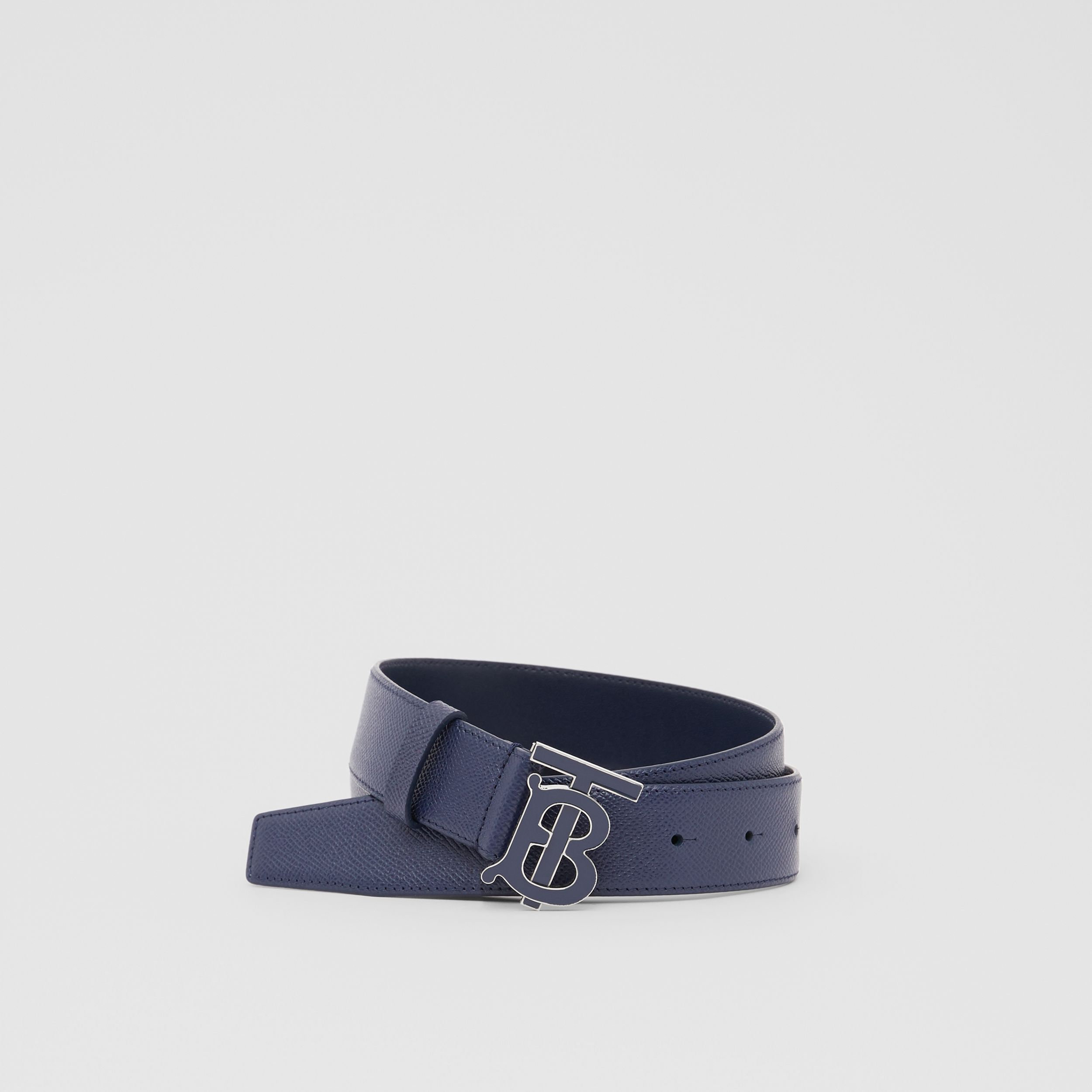 Monogram Motif Grainy Leather Belt in Navy - Men | Burberry - 1
