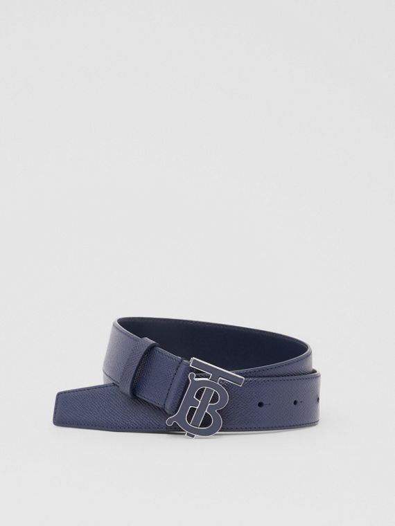 Monogram Motif Grainy Leather Belt in Navy