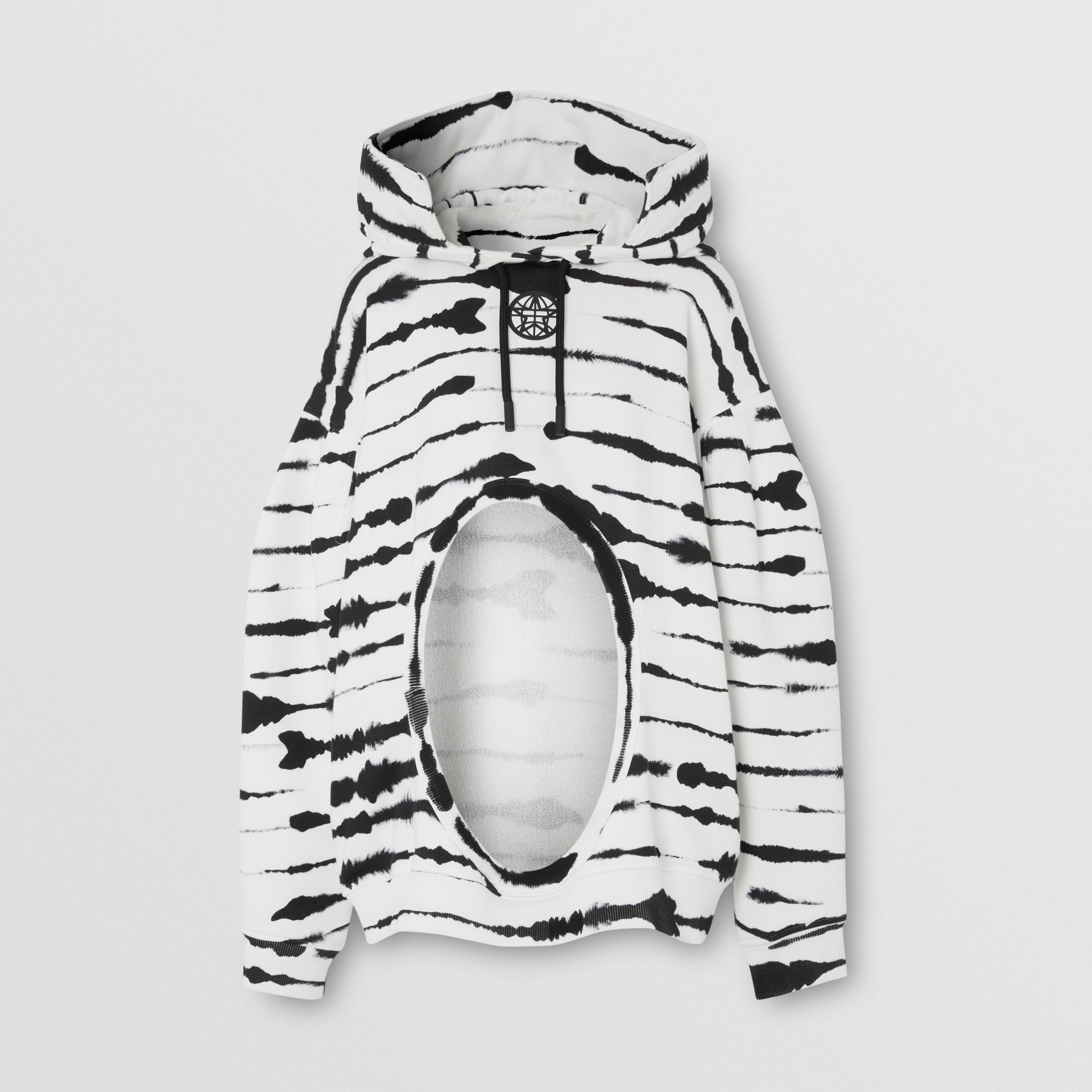 Cut-out Detail Watercolour Print Cotton Hoodie in White/black - Women | Burberry - gallery image 3