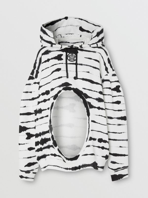 Cut-out Detail Watercolour Print Cotton Hoodie in White/black - Women | Burberry - cell image 3