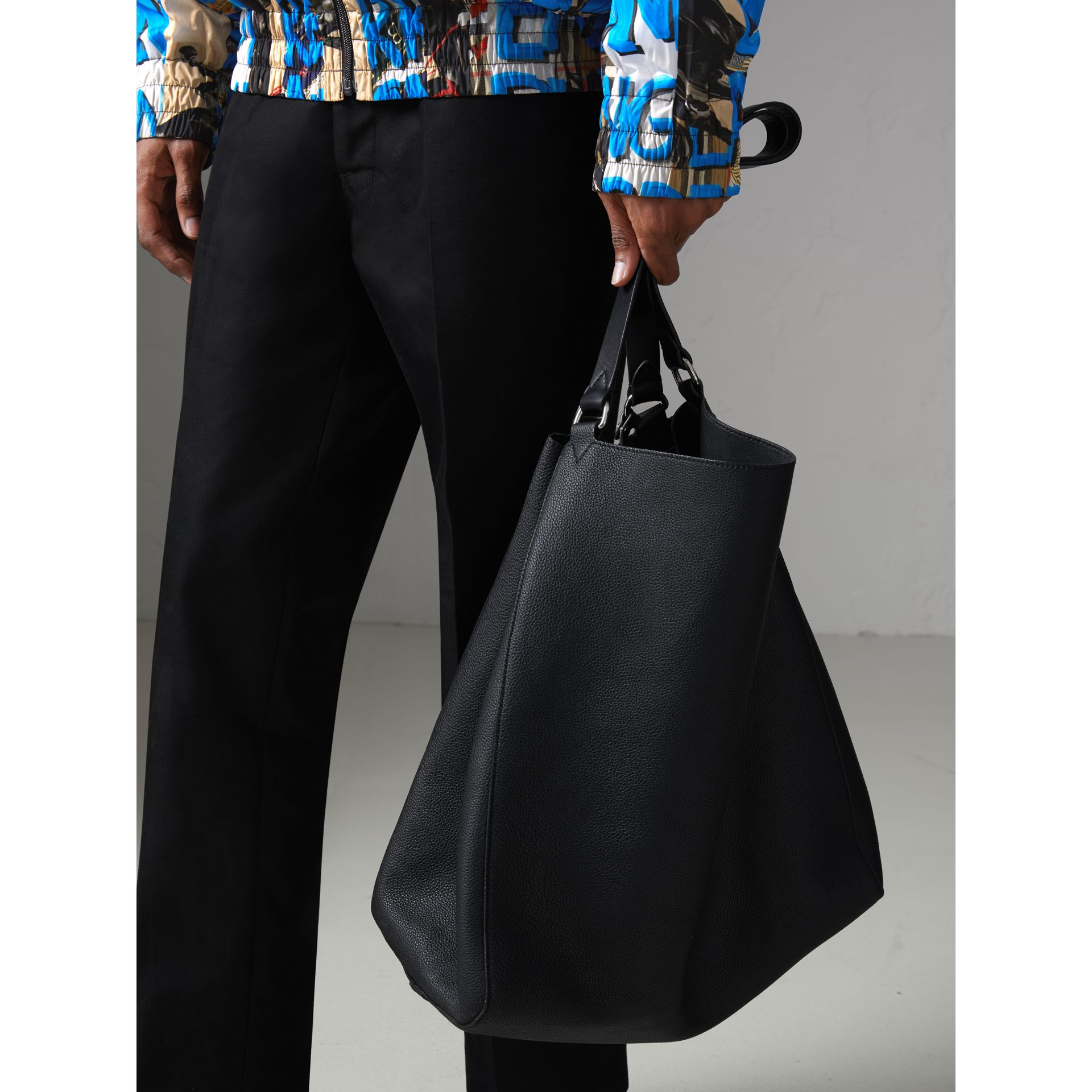 Large Bonded Leather Tote in Black - Men | Burberry - gallery image 6