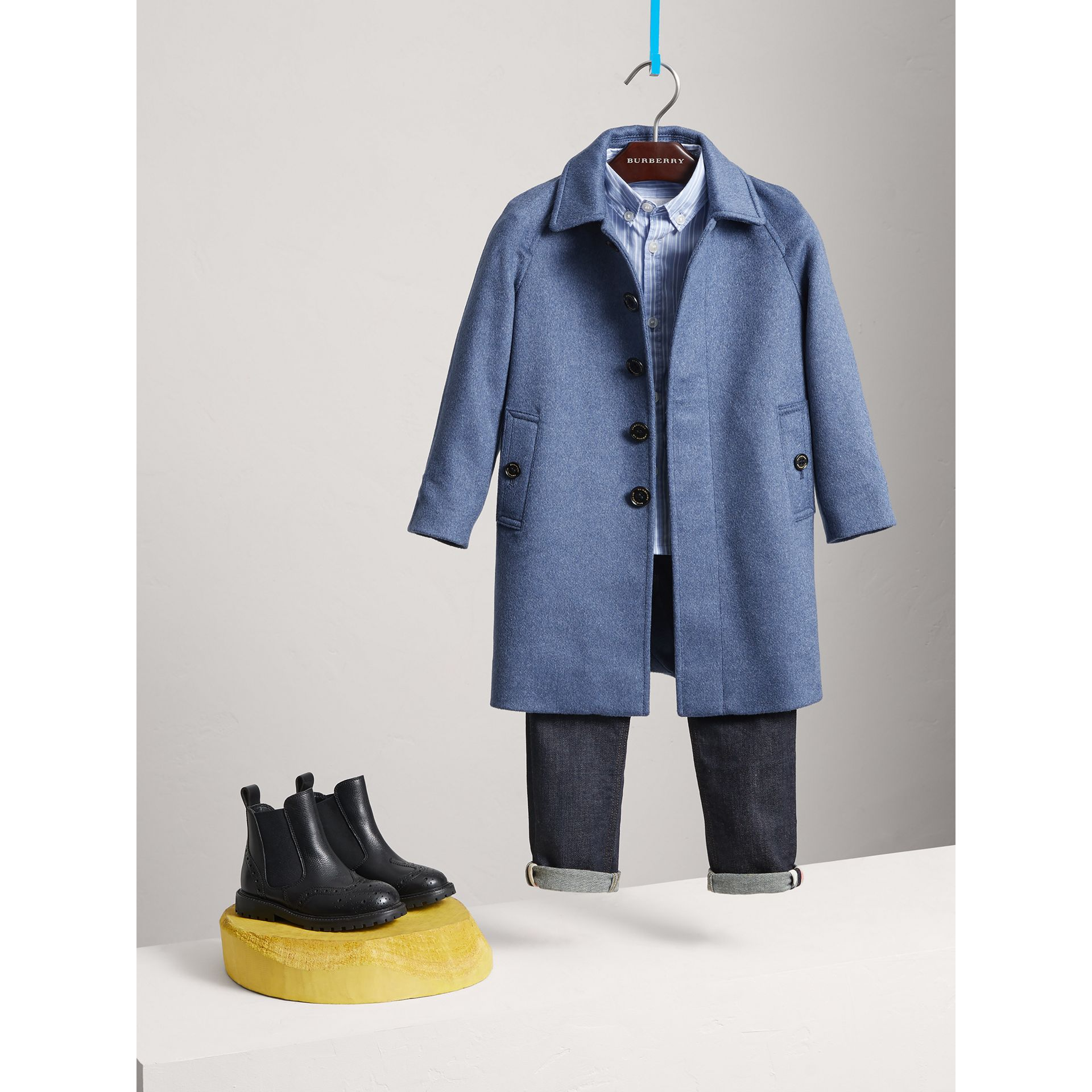 Cashmere Car Coat in Steel Blue Melange - Boy | Burberry - gallery image 2