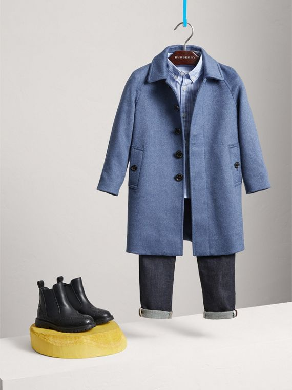 Cappotto car coat in cashmere (Blu Acciaio Mélange) - Bambino | Burberry - cell image 2