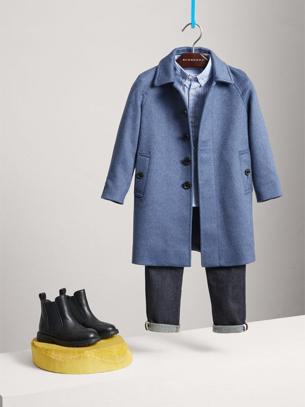 Cashmere Car Coat in Steel Blue Melange | Burberry United Kingdom - cell image 2