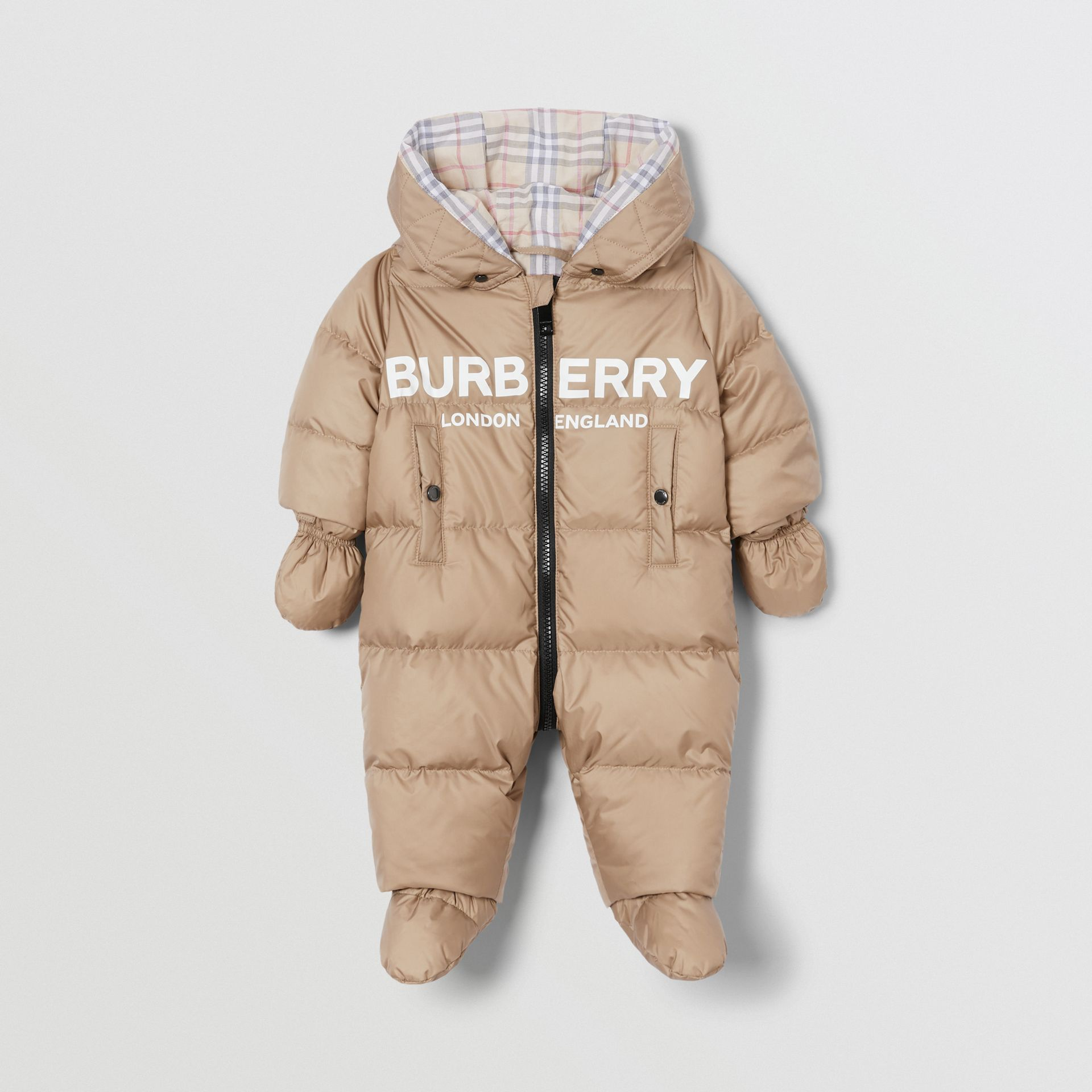Logo Print Down-filled Puffer Suit in Walnut - Children | Burberry - gallery image 0
