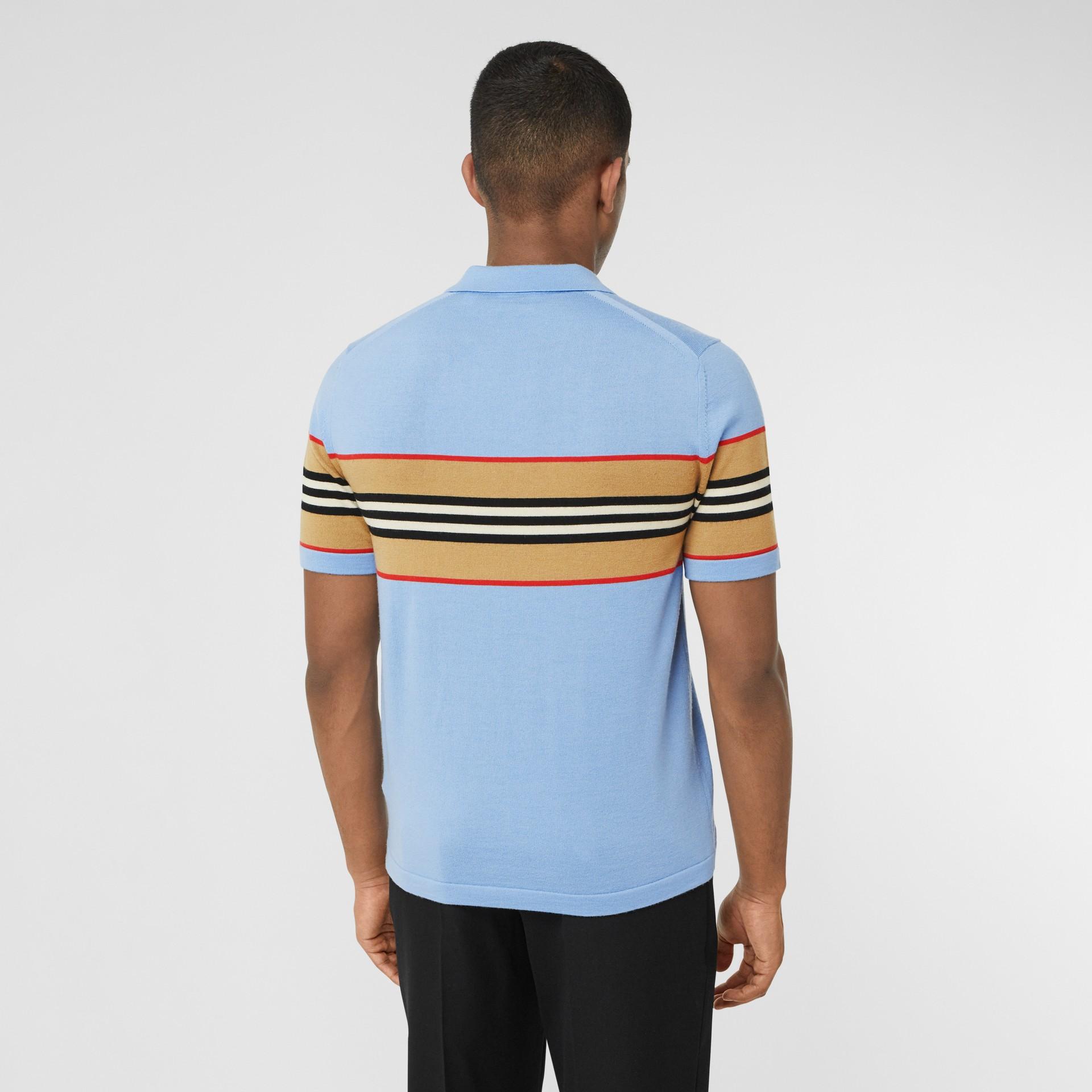 Icon Stripe Detail Merino Wool Polo Shirt in Pale Blue - Men | Burberry United Kingdom - gallery image 2