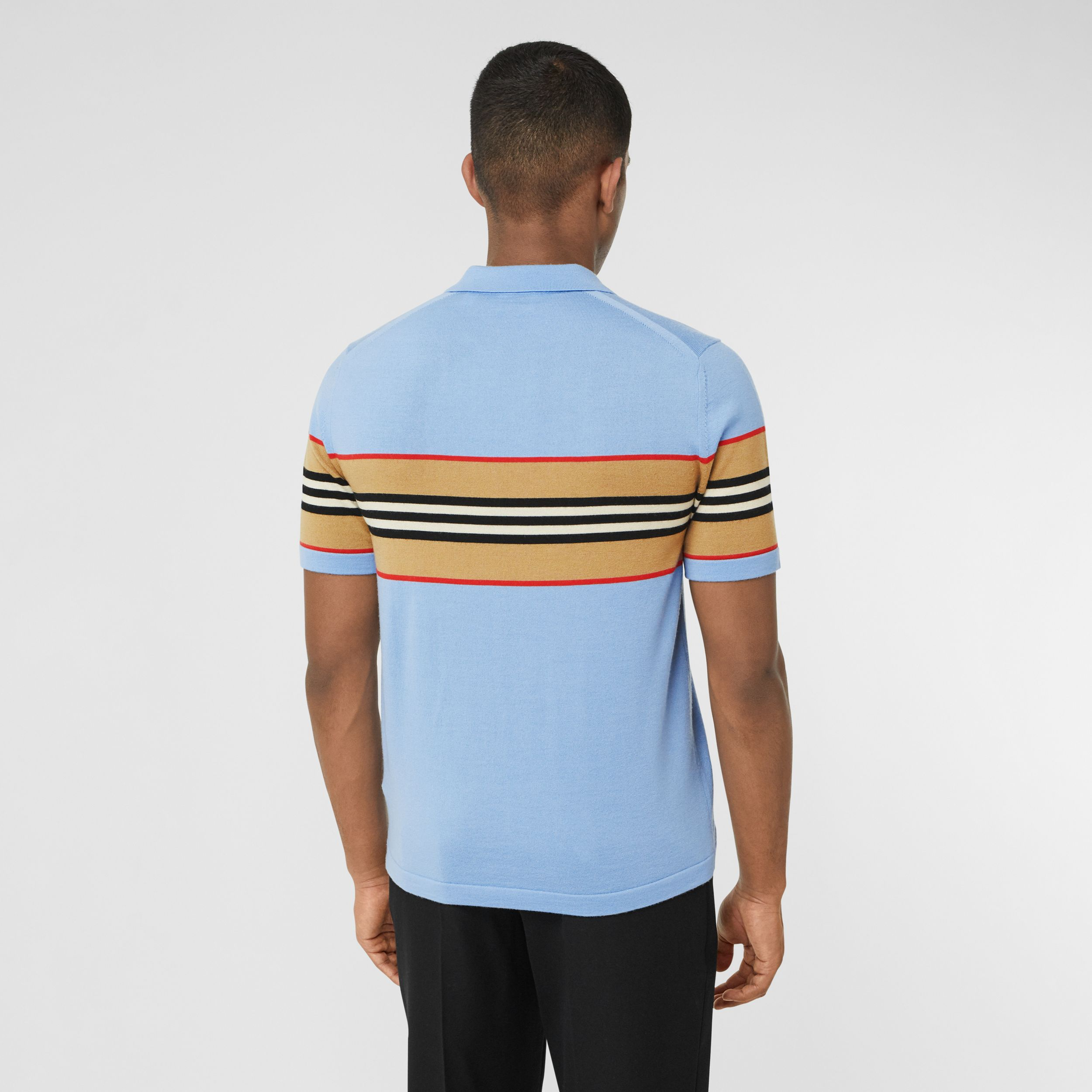 Icon Stripe Detail Merino Wool Polo Shirt in Pale Blue - Men | Burberry - 3