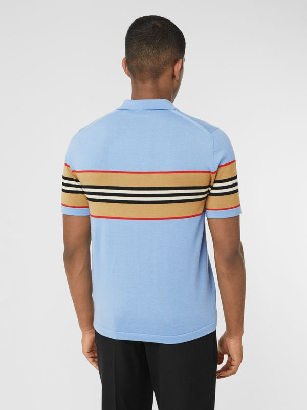 Icon Stripe Detail Merino Wool Polo Shirt in Pale Blue - Men | Burberry United Kingdom - cell image 2