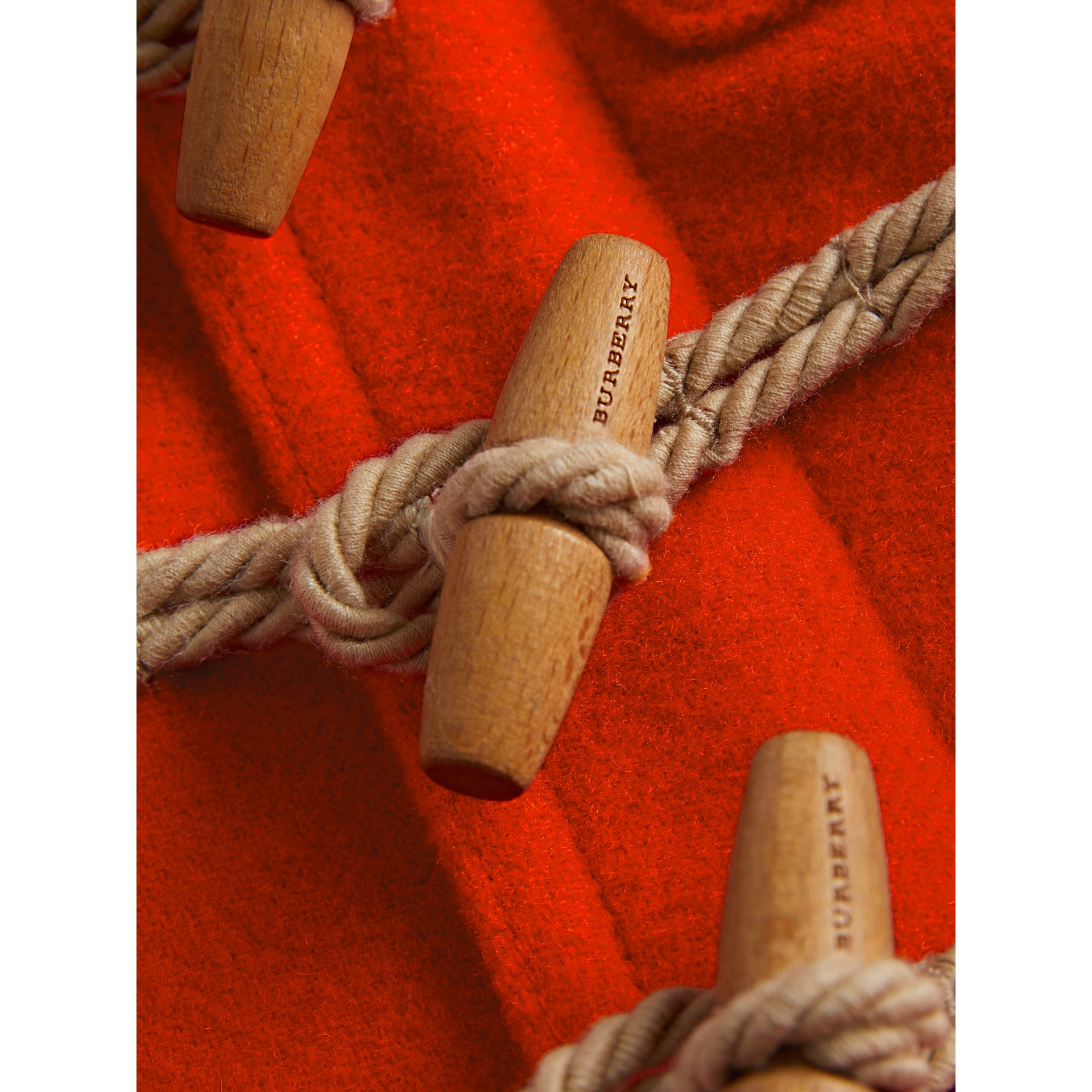 Boiled Wool Duffle Coat in Orange Red - Children | Burberry Australia - gallery image 1
