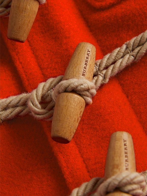 Boiled Wool Duffle Coat in Orange Red - Children | Burberry - cell image 1
