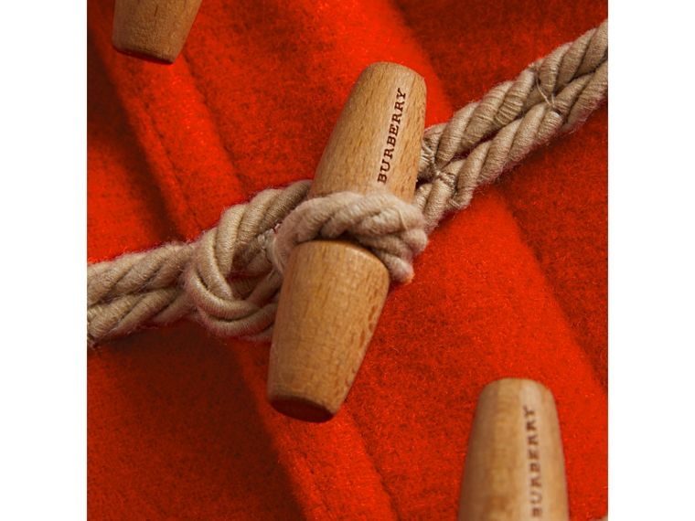 Boiled Wool Duffle Coat in Orange Red | Burberry - cell image 1